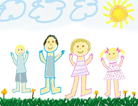 Child like drawing of a happy family photo