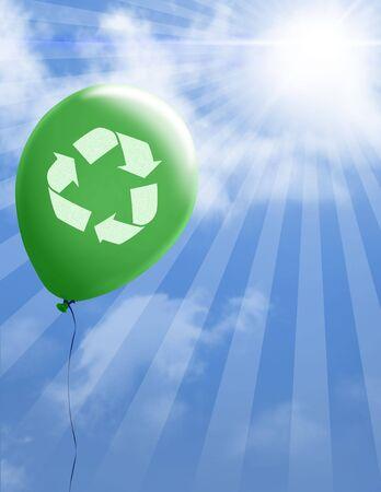 Recycle sign on green environmental balloon