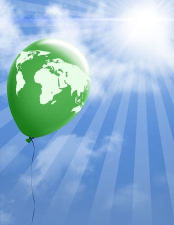 세계지도와 녹색 풍선