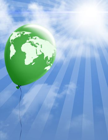 Green balloon with world map