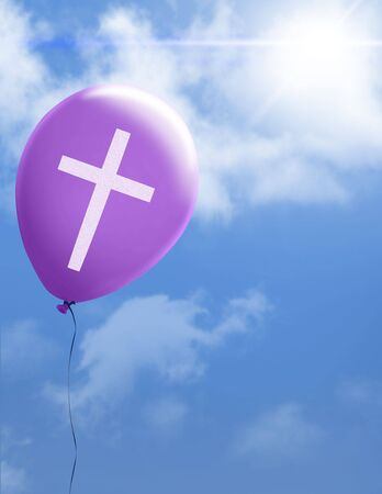 Purple ballon with cross floating to heaven