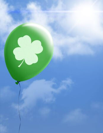 Four leaf clover floating on green balloon