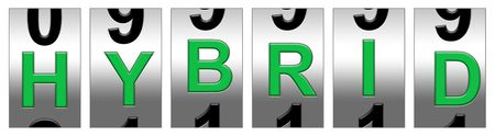 Green hybrid mileage odometer Stock Photo