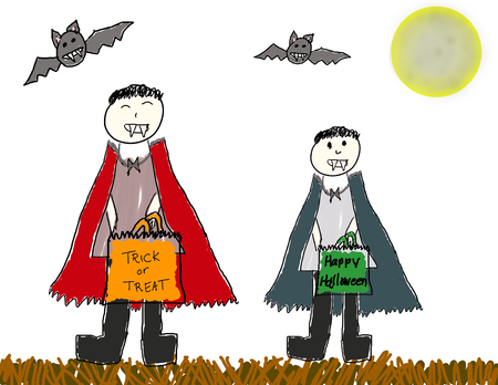 Vector child like drawing of brothers in vampire costumes out trick or treating Vector