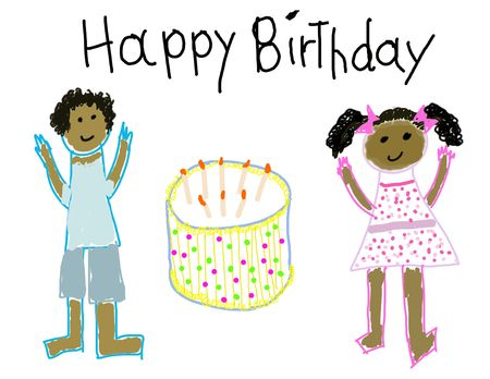 dark complexion: Child like drawing of a boy & girl with Happy Birthday
