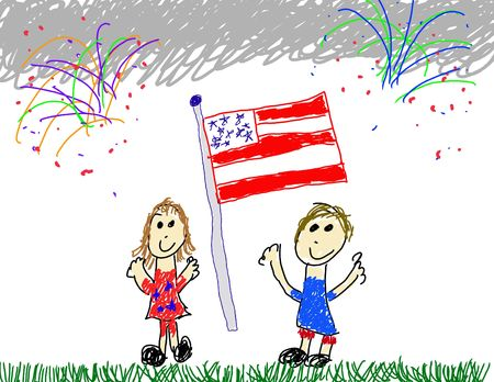Child like drawing of happy 4th of July Stock Photo - 3229418