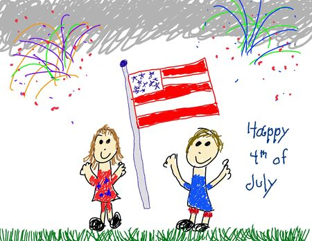 Child like drawing of July 4th Stock Photo - 3229420