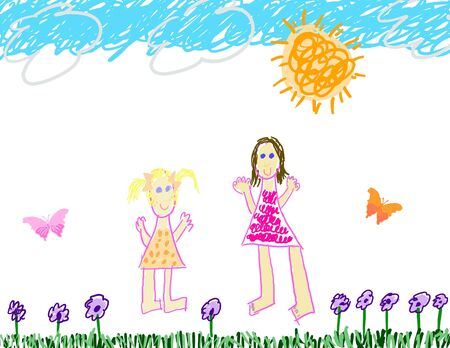 Child like drawing of summertime play photo