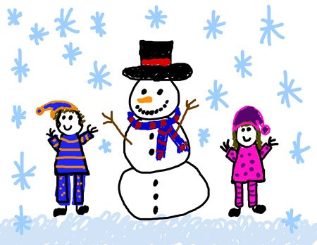 girl drawing: Child like drawing of building a snowman