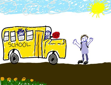 Childs drawing of the bus ride to school
