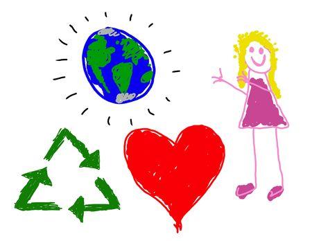 Child's Zeichnung des Umweltbewusstseins  Standard-Bild - 3301113
