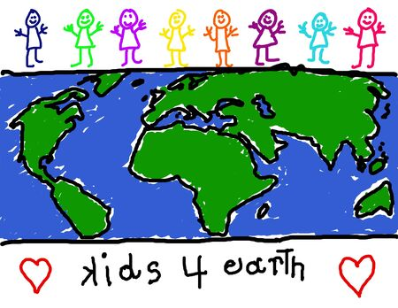 friendliness: Childs drawing of diverse group of children promoting earth friendliness Stock Photo