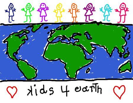 amabilidad: Ni�o del dibujo de grupo diverso de los ni�os la promoci�n de la Tierra amistad