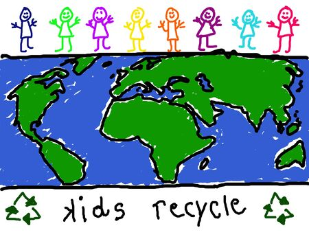 promoting: Childs drawing of diverse group of children promoting world wide recycling