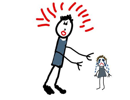 人を傷つける大人の子供の図面  イラスト・ベクター素材