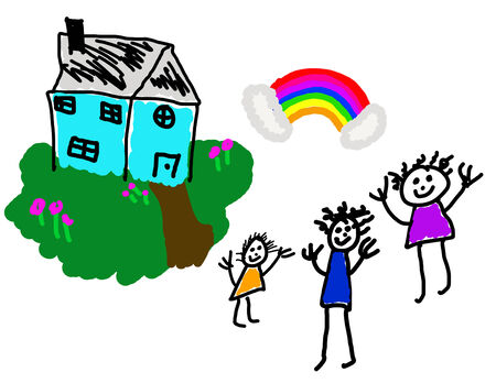Childs drawing of happy family home & life