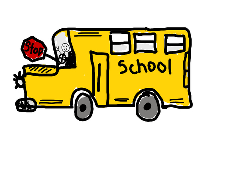 childs: Childs drawing of school bus