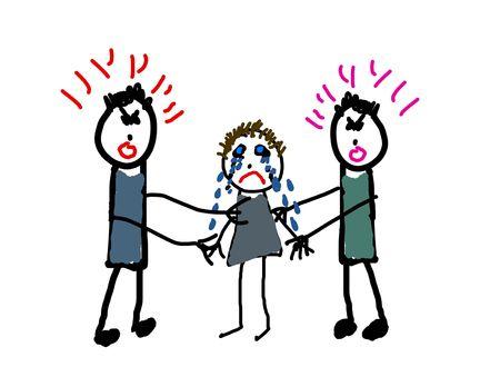 papa y mama: Ni�o del dibujo de mam� y pap� peleando por �l  ella  Foto de archivo