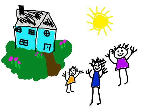 Child's drawing of happy home & family Stock Photo - 3313102