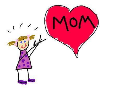 Little Girl's Zeichnung für Mama Standard-Bild - 3317396