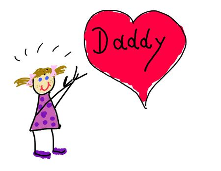 Little girls drawing for her Daddy Stock Photo