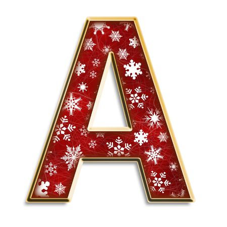 White snowflakes on red with gold capital letter A isolated on white