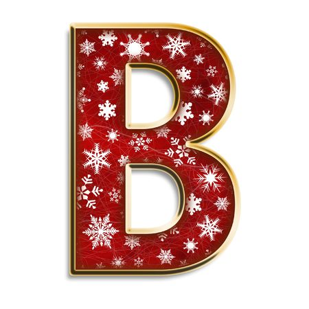 White snowflakes on red with gold capital letter B isolated on white