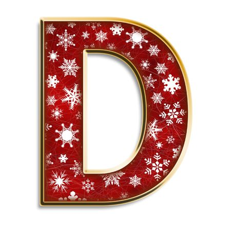 White snowflakes on red with gold capital letter D isolated on white