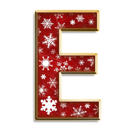 White snowflakes on red with gold capital letter E isolated on white