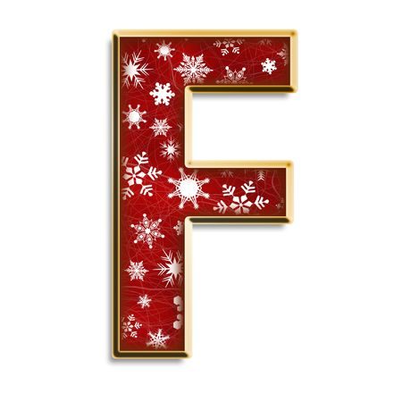 White snowflakes on red with gold capital letter F isolated on white