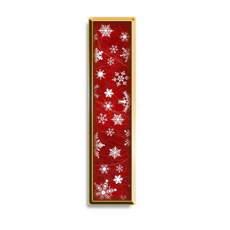 Flocons de neige blanc sur le rouge avec une lettre capitale de l'or j'ai isolé sur blanc Banque d'images - 3425011