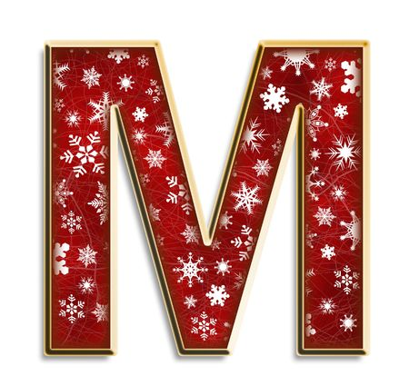 White snowflakes on red with gold capital letter M isolated on white
