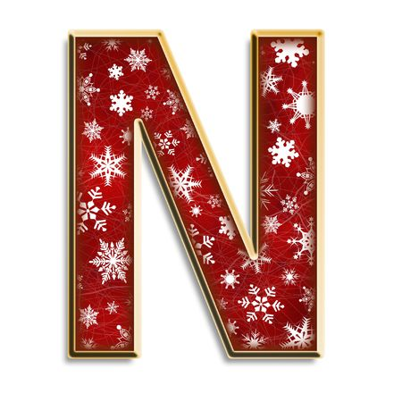 White snowflakes on red with gold capital letter N isolated on white Reklamní fotografie