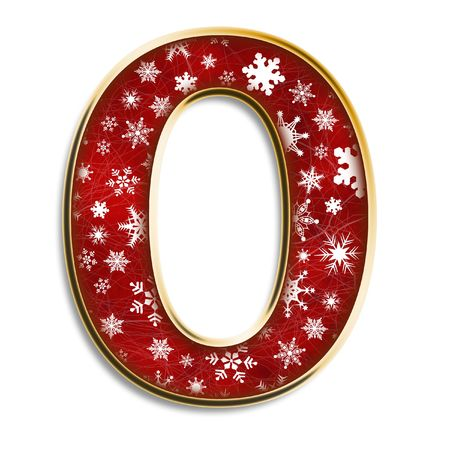 White snowflakes on red with gold capital letter O isolated on white