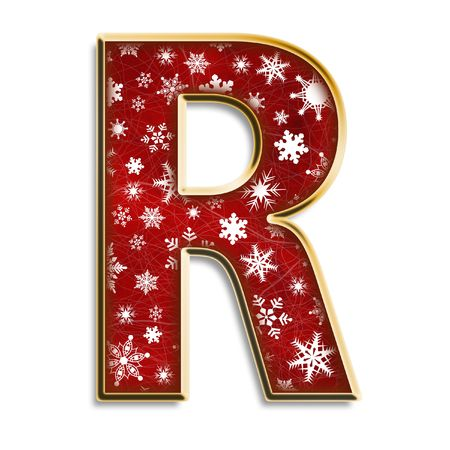 White snowflakes on red with gold capital letter R isolated on white Zdjęcie Seryjne