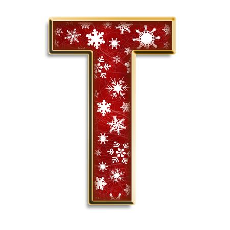 White snowflakes on red with gold capital letter T isolated on white Standard-Bild