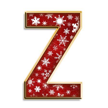 Flocons de neige blanches sur le rouge et or majuscule Z isolé sur fond blanc  Banque d'images - 3425065