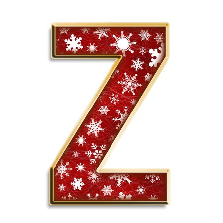 White snowflakes on red with gold capital letter Z isolated on white Standard-Bild
