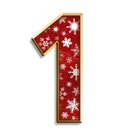 1: White snowflakes on red with gold number one isolated on white