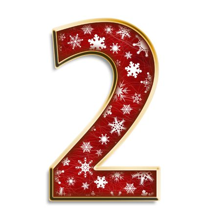 alphabet number: White snowflakes on red with gold number two isolated on white Stock Photo