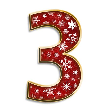 White snowflakes on red with gold number three isolated on white
