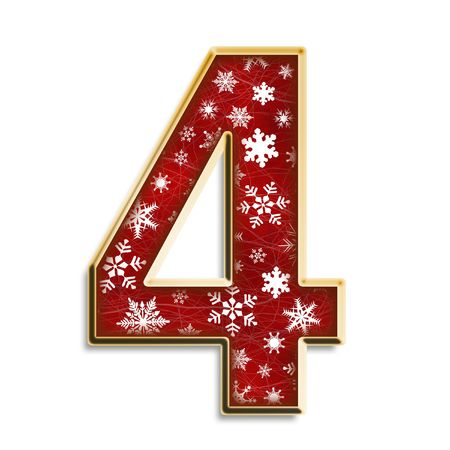 White snowflakes on red with gold number four isolated on white