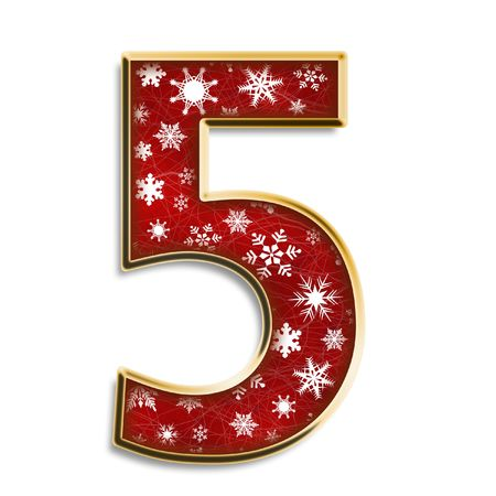 White snowflakes on red with gold number five isolated on white Standard-Bild