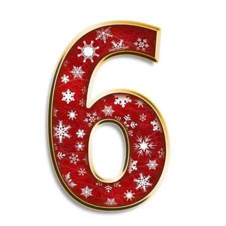 Weiße Schneeflocken in rot mit Gold Nummer sechs isoliert auf weißem  Standard-Bild - 3425071