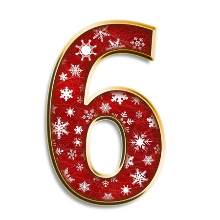 number six: White snowflakes on red with gold number six isolated on white Stock Photo