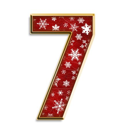 winter fashion: White snowflakes on red with gold number seven isolated on white