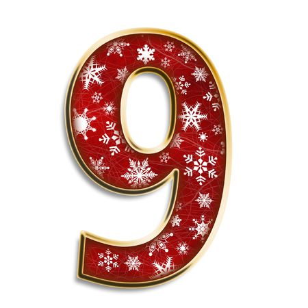 White snowflakes on red with gold number 9 isolated on white photo