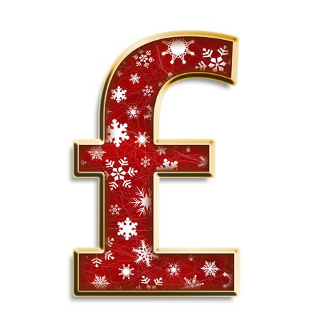 White snowflakes on red with gold British pound isolated on white photo