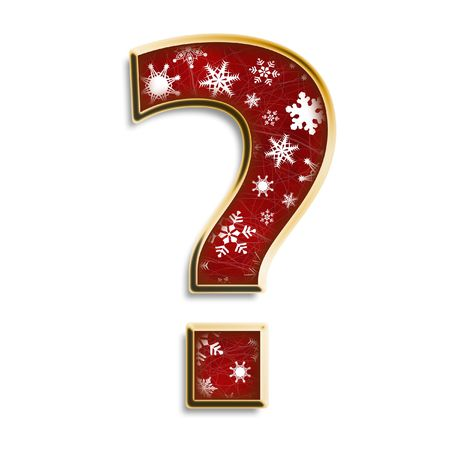 White snowflakes on red with gold question mark isolated on white