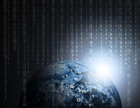 지구 또는 지구에서 비천한 바이너리 데이터 코드 스톡 콘텐츠